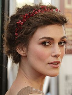 Holiday headband; loose ends pinned in back to create a short hair-friendly updo. (Keira Knightley)