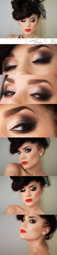 Linda Hallberg Make-up. Coral red lips and Brown smokey eyes Best Makeup Tips, Love Makeup, Best Makeup Products, Makeup Looks, Makeup Ideas, Makeup Tutorials, Beauty Products, Awesome Makeup, Smoky Eyes