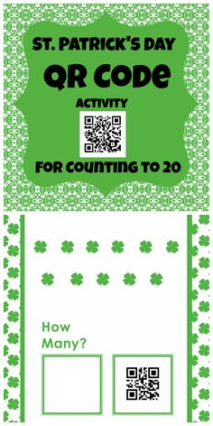 St. Patrick's Day QR codes for counting to 20