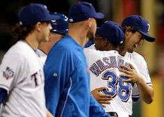 ARLINGTON, TX - APRIL 24:  Yu Darvish #11 of the Texas Rangers gets a hug from Ron Washington #38 after a 2-0 win against the New York Yankees at Rangers Ballpark in Arlington on April 24, 2012 in Arlington, Texas.  (Photo by Ronald Martinez/Getty Images) game 18
