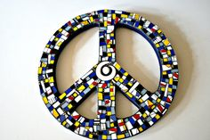 Etsy Mosaic Nautical Peace Sign - Blue, Yellow, Red, White, Black, Grey - Broken China and Stained Glass - 10 inches #etsy #etsyshopping