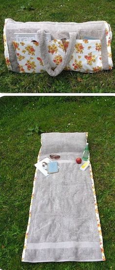 Love this DIY project - the bag unwraps into a beach towel blanket with pillow!