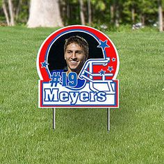 The Personalized Photo Helmet Yard Signs allows you to show off your football super star!