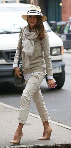 Monochromatic style beige layering Jessica alba street style