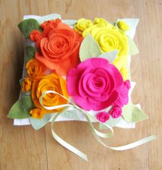 Ring Pillow Wool Felt Flowers Wedding in Hot Pink, Bright Orange and Yellow