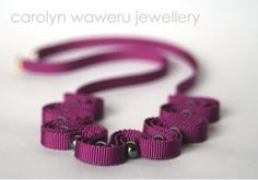 carolyn waweru jewellery - Purple ribbon necklace with anthracite beads