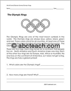 Reading Comprehension: The Olympic Rings - Winter Olympics - Summer Olympics - Primary Grades Grade 1 Reading, Guided Reading, Word Puzzles, New Teachers, Summer Olympics, Reading Activities, Reading Comprehension, At Least, Teaching