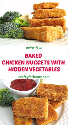 Kids friendly and dairy-free healthy baked chicken nuggets with hidden vegetables that no one will notice if this nuggets has lots of fiber on it. Healthy Chicken Nuggets, Healthy Baked Chicken, Dairy Free Recipes, Healthy Recipes, Healthy Meals, Hidden Vegetables, Dinner Is Served, Food Processor Recipes, Stuffed Peppers