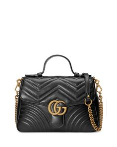 798b433c682c Gucci GG Marmont Small Chevron Quilted Top-Handle Bag with Chain Strap