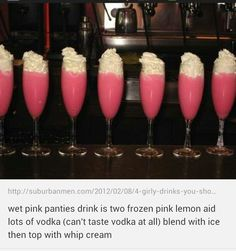 Wet pink panties. Okay the name is disgusting. But the drink sounds right up my alley.
