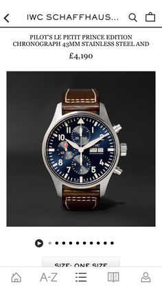 IWC SCHAFFHAUSEN - Pilot's Le Petit Prince Edition Chronograph 43mm Stainless Steel and Leather Watch | MR PORTER https://www.mrporter.com/product/845068