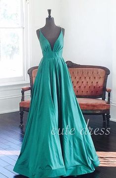 Simple v neck green long prom dress for teens, evening dress