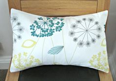 Lumbar pillow dandelion lemon yellow blue teal grey by VeeDubz, $25.00, good way to work in some yellow accents