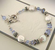 Alexandrite Swarovski Crystal Bracelet, Coin Pearls and Sterling Silver - Color Change Swarovski Crystals