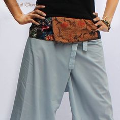 Unique patchwork Thai batik cotton on waist and light gray Thai Fisherman Capri Pants from meatballtheory on etsy