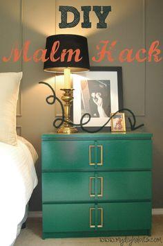 Ikea Hack Malm Dresser Makeover in Emerald and Gold | FurnitureMakeover.net