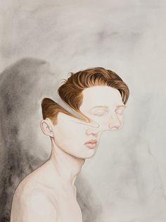 """Henrietta Harris, Four Stars, Watercolour on Paper, 2014   Le dessin réinventé à coups de savantes déformations, de visages qui se dérobent ou qui nous jettent un regard troublant.   + dans l'album-photos """"Artistes et femmes: le défi SOCIAL MEDIA FEMALE ARTISTS CHALLENGE"""" http://on.fb.me/1HSjVUG"""