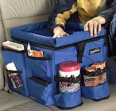 car organization - maybe I could use a milk crate and make a cover for it with fabric and pockets.  Seat belt could slip through back to keep it in place.