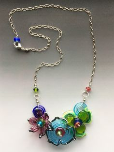 Secret Garden Small Necklace: handmade glass lampwork beads with sterling silver components - Multicolor by LisaInglertJewelry on Etsy https://www.etsy.com/listing/488595888/secret-garden-small-necklace-handmade