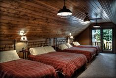 not a bunk room, but it's cool because it reminds me of Goldilocks and the 3 Bears, plus one more!
