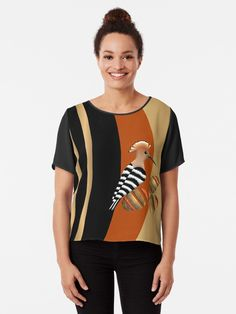 WHOOPOE HOOPOE Chiffon Top Designed by stylized Eurasian hoopoe bird,inspired with the love of birds. Hoopoe Bird, Chiffon Tops, Fitness Models, Birds, Women's Fashion, Inspired, Sleeves, How To Wear, Black