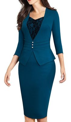 Women's Clothing, Suiting & Blazers, Separates, Dresses, Women's Elegant Business Sleeve Lace Retro Pencil Sheath Dress - Teal - Source by zrinecom clothes suit Sexy Dresses, Casual Dresses, Fashion Dresses, Dresses For Work, Office Dresses For Women, Dress Work, Dress Suits, The Dress, Peplum Dress