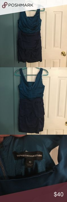 Express Dress Women's Express teal and navy ruched satin dress with zip V neck back. VGUC. Size 10. Express Dresses