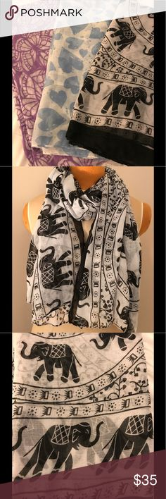 Bundle of scarfs Gently worn scarfs with 3 different fun patterns.  Black/white elephant print, blue/white heart print, and purple butterfly print. Accessories Scarves & Wraps