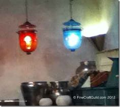 Vintage Venetian colored glass kitchen lights