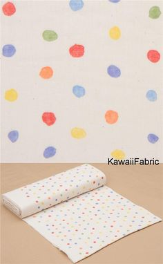 light weight Naomi Ito fabric with dots, Colorful Pocho cottonlight delicate double-layered gauze fabricsize of one of the biggest dots: ca. Michael Miller, Modes4u, Textiles, Kawaii, Fabric Shop, Double Gauze Fabric, Couture, Creme, Fabric Design