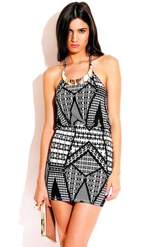 martini shaker - Trendy Cute black and white abstract print gold bejeweled halter fitted clubbing mini dress #fashion #1015store   $25