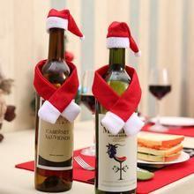Christmas Santa Wine Bottle Cover Bag Hat /& Scarf Xmas Party Dinner Table Decor