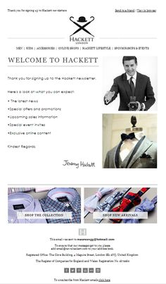 Hackett Welcome Email #Pure360 #welcomeemail #emailmarketing #Hackett