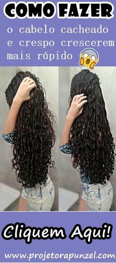 Fazer o cabelo cacheado ou crespo crescerem mais rápido!  Vamos te ensinar como fazer o Projeto Rapunzel para cabelos cacheados e crespos, dessa forma você poderá iniciar esta série de procedimentos capilares para acelerar o crescimento dos seus fios. Beauty Care, Hair Beauty, Hair Shows, New Hair, Curls, Curly Hair Styles, Hair Care, Dreadlocks, Hairstyle