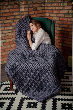 Ready to ship! Chunky Knitted Blanket, Home Decor, Merino Wool Giant Knit, Throw Blanket, Wedding gift, Anniversary Gift, Bulky Hand Knit Blanket, Gift Mother's Day, Turquoise >>> More info could be found at the image url. (Amazon affiliate link)