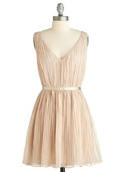 Crinkled Confection Dress by BB Dakota. Accordion-pleated overlay, creme brulee hue, and ribbon-garnished waist.