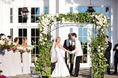 Outdoor wedding ceremony at The Ryland Inn.