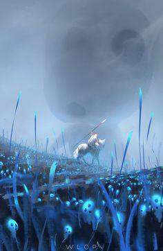 Princess Mononoke by wlop. Ahahahahaha a giant Kodama