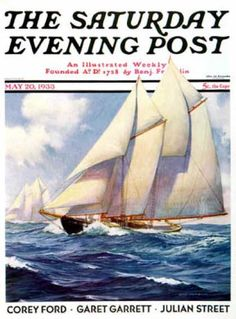 "size: Giclee Print: ""Yachts at Sea,"" Saturday Evening Post Cover, May 1933 by Anton Otto Fischer : Fine Art Ship Figurehead, Saturday Evening Post, Norman Rockwell, Artist Gallery, Vintage Magazines, Sailing Ships, Giclee Print, Anton, Yachts"
