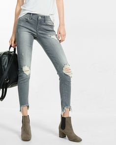 gray mid rise performance stretch jean leggings