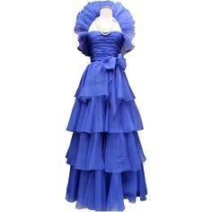 Preowned 1980s Jean-louis Scherrer Haute Couture Blue Organza Evening... ($2,009) ❤ liked on Polyvore featuring dresses, gowns, ball gowns, blue, 80s dress, blue evening gown, long blue skirt, long ruffle skirt and couture ball gowns