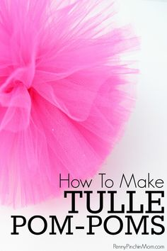 Tulle pom-poms are super simple to make and are the perfectly simple way to decorate a baby shower, bridal shower, wedding or party!  Make them in several sizes for around $0.50 each!    #DIY #babyshower #bridalshower #party #decorations #pompom #tullepompom #pompomtutorial #howtomakeatullepompom #PPM