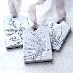 Ceramic Ornaments with Natural Plant Impression Christmas Holiday Decoration Silver Large - Set of 3