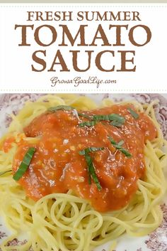 This summer tomato sauce recipe combines vine-ripened tomatoes with onions, garlic and fresh Italian herbs. It is a classic marinara sauce ready in an hour. Fresh Tomato Marinara Sauce, Sauce Marinara, Italian Tomato Sauce, Fresh Tomato Sauce Recipe, Homemade Meat Sauce, Homemade Spaghetti Sauce, Homemade Breads, Salsa Italiana, Italian Cookie Recipes