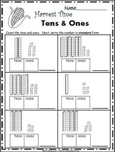 Free November Math Worksheets for 1st Grade - Base 10 Blocks