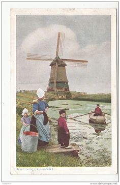 Overzetveer - Volendam Cool Art, Fun Art, Water Tower, Vintage Cards, Windmill, Travel Posters, Vintage Posters, Netherlands, Holland