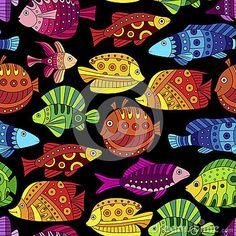 Modèle sans couture avec les poissons tropicaux colorés