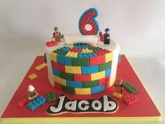 Lego cake - Cake by Amanda sargant Bolo Lego, Cold Cake, Ricotta Cake, Pear Cake, Lego Birthday Party, Pear Recipes, Salty Cake, Savoury Cake, Cake Pans