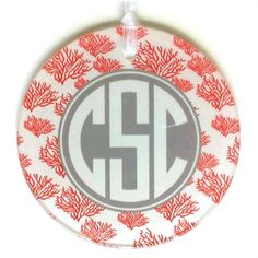 Monogram Glass Christmas Ornament - great teacher gift idea! These also look great as gift package tags on top of the goodies on the inside.