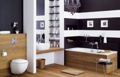 Wood in bathroom Wood Bathroom, Bathroom Black, Bathroom Ideas, White Wood, Black White, Office Desk, Sweet Home, Entryway, Bathtub